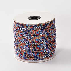 Cloth Rope Ethnic Cords, Blue, 4mm, about 50yards/roll(150 feet/roll)(OCOR-F003-4mm-07)