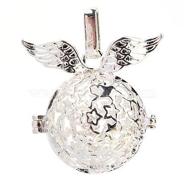 Rack Plating Brass Cage Pendants, For Chime Ball Pendant Necklaces Making, Hollow Round with Wing, Silver Color Plated, 26.5x29.5x20mm, Hole: 5x7mm; inner measure: 17mm(KK-S751-048S)