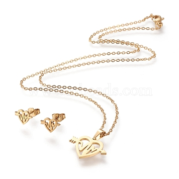 304 Stainless Steel Jewelry Sets, Cable Chains Pendant Necklaces and Stud Earrings, with Lobster Claw Clasps and Ear Nuts, Heart with Heartbeat, Golden, 17.52 inches(44.5cm), 1.5mm; 7.2x10mm, Pin: 0.8mm(STAS-K196-25G)