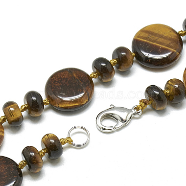 Natural Tiger Eye Beaded Necklaces(NJEW-S393-14)-2