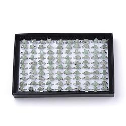 Anneaux d'aventurine vert naturel, avec les accessoires en alliage, taille mixte, forme mixte, platine, 16~19 mm; 100 pcs / boîte(G-S242-08-B)