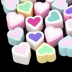 Cabochons en pâte polymère manuels, cœur, couleur mixte, 11~15x13~15x10mm(CLAY-T013-09)