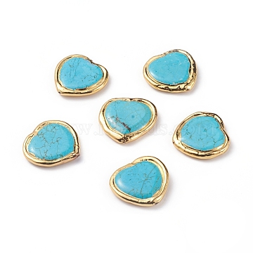 Natural Howlite Beads, with Golden Plated Edge Brass Findings, Dyed & Heated, Heart, 29x29x5.5mm, Hole: 0.8mm(X-G-L543-001G)
