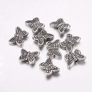 CCB Plastic Beads, Butterfly, Antique Silver, 11x15x5mm, Hole: 2mm(CCB-F006-14AS)