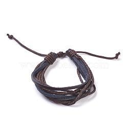 "Bracelets de multi-brins en cuir, avec une corde de chanvre, marron, 190~260 mm (7-1/2""~10-1/4"")(BJEW-FF0007-013A)"