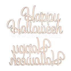 Word Happy Halloween Blank Wooden Cutouts Ornaments, for Halloween Hanging Decoration, Kids Crafts DIY Party Supplies, BurlyWood, 56x108x2mm, Hole: 2.5mm; Rope: 320x1mm(WOOD-L010-01)