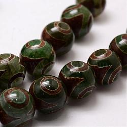 """Chapelets de perles de style tibétain, Perles d'agate naturelle & teintée, rond, darkslategray, 20mm, trou: 2.5mm; environ 15 pcs/chapelet, 14""""(G-A148-10-20mm)"""