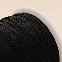 Polyester Cord, Knotting Cord Beading String, for Bracelet Making, Black, 1mm, about 300meter/roll(OCOR-L020-11)