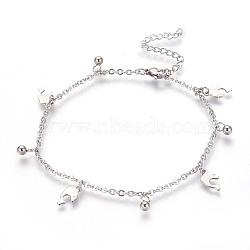 """Bracelets de cheville en 304 acier inoxydable avec pendentif, dauphin et rond, couleur inoxydable, 9-1/4"""" (23.5cm); 2mm(AJEW-O028-03P)"""