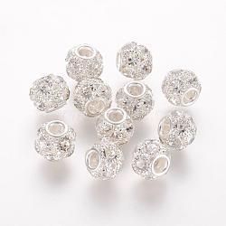 Perles en laiton, avec une teneur de strass grade A, rondelle, argenterie, cristal, 12x10mm, Trou: 3mm(RB-K050-12mm-A08)
