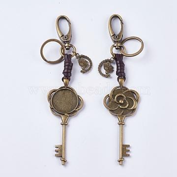 Alloy Cabochon Settings, Cadmium Free & Lead Free Keychain, Key with Owl, Antique Bronze, Tray: 25mm; 157mm; 89x36x6mm(KEYC-E026-25AB)