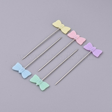 Iron Head Pins, Straight Pins, Dressmaker Pins, Sewing Pin for DIY Sewing Crafts, with Plastic, bowknot, Mixed Color, 41mm, Pin: 0.6mm, about 50pcs/box(NEED-WH0001-10D)