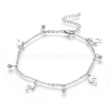 304 Stainless Steel Charm Anklets, Dolphin and Round, Stainless Steel Color, 9-1/4 inches(23.5cm), 2mm(AJEW-O028-03P)