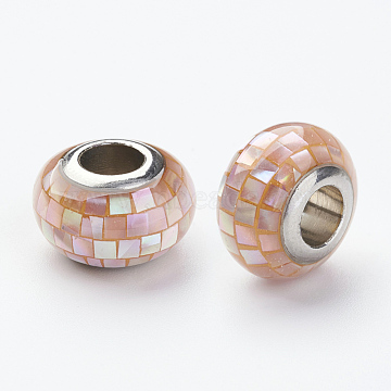 304 Stainless Steel Resin European Beads, with Shell and Enamel, Rondelle, Large Hole Beads, Light Salmon, 12x8mm, Hole: 5mm(RPDL-P002-A05)