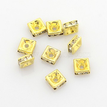 5mm Clear Square Brass + Rhinestone Spacer Beads