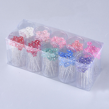 Iron Hair Forks, with Rhinestone and Resin, Flower, Mixed Color, 66mm; about 200pcs/box(OHAR-S200-01-B)