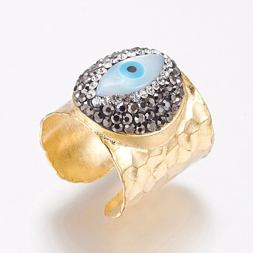 Brass Rings, with Polymer Clay Grade A Rhinestone and Shell, Adjustable, Eye, Size 7, Light Gold, 17mm(RJEW-G089-01KCG)