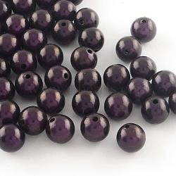 Perles rondes en acrylique peintes par pulvérisation miracle, Perle en bourrelet, pourpre, 12mm, trou: 2 mm; environ 560 pcs / 500 g(MACR-Q154-12mm-N06)
