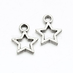 Tibetan Style Alloy Star Charms, Lead Free, Antique Silver, 12x9x1mm, Hole: 1mm
