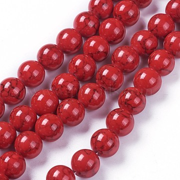 Synthetic Turquoise Beads Strands, Dyed, Round, Dark Red, 10mm, Hole: 1mm; about 39pcs/strand, 15.15 inches~15.35 inches(38.5~39cm)(G-E525-10mm-06)
