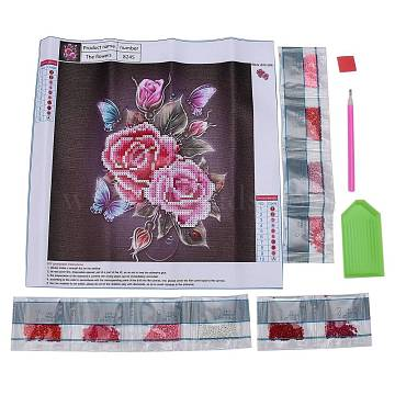 DIY Diamond Painting Canvas Kits For Kids, with Resin Rhinestones, Diamond Sticky Pen, Tray Plate and Glue Clay, Butterfly with Rose, Mixed Color, 30x30cm(DIY-F059-08)