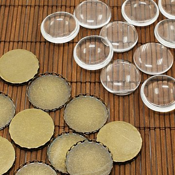 25mm Transparent Clear Domed Glass Cabochon Cover for Brass Cabochons Making, Antique Bronze, Nickel Free, Tray: 25mm, Glass: 25x7.4mm(KK-X0011-NF)