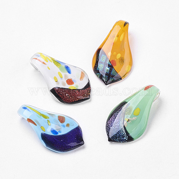 Handmade Dichroic Glass Big Pendants, Leaf, Mixed Color, 62x33mm, Hole: 10mm(DICH-X059-M)