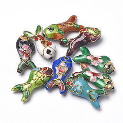 Handmade Cloisonne Beads, Fish, Mixed Color, 19.5x9x5~6mm, Hole: 1mm(CLB-S006-05)