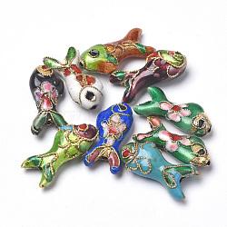 Perles en cloisonné Manuelles, poisson, couleur mixte, 19.5x9x5~6mm, Trou: 1mm(CLB-S006-05)