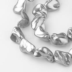 perles nacre brins, nuggets, gris, 15~30x10~30x10~15 mm, trou: 0.8 mm; environ 17~23 perle / brin, 15.7(PEAR-Q007-13A)