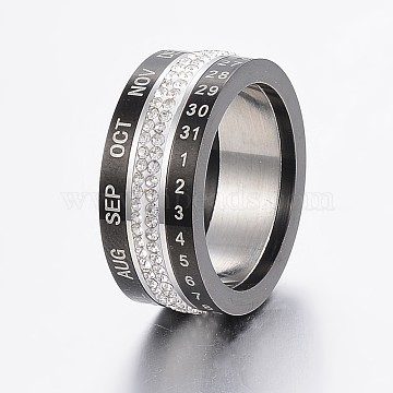 Rotatable 304 Stainless Steel Rings, with Polymer Clay Rhinestone, Wide Band Rings, Number & Month, Golden & Stainless Steel Color, Size 6~10, 16~20mm(RJEW-P063-38B)