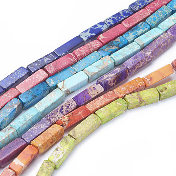 Natural Imperial Jasper Beads Strands, Cuboid, Dyed, Mixed Color, 13~13.5x4.2~4.5x4.2~4.5mm, Hole: 1.2mm; about 30pcs/strand, 15.5inches~16.1inches(39.5~41cm)(G-L515-01)