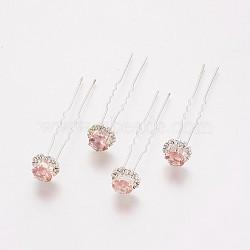 (vente de clôture défectueuse), fourches de cheveux de dame, avec des résultats de fer de couleur argentée et strass, fleur, rose clair, 72 mm(PHAR-XCP0001-B02)