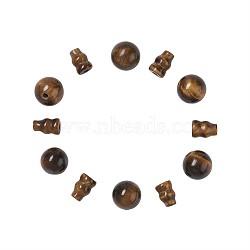 Tigre naturel oeil perles bouddhistes, 3 perles trou gourou, perles t-percées,  accessoires de bijoux bouddha, rond: 8 mm, trou: 1~2 mm; bouchon: 8x6 mm, Trou: 1~2mm(G-TA0001-02C)