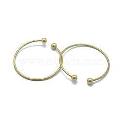 латунь манжеты браслеты задатки, браслеты крутящий момент, со съемными круглыми бусинами, никель свободный, без покрытия, 50x2 mm(KK-L184-05C)