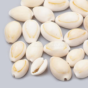 Cowrie Shell Beads, No Hole/Undrilled, Seashell Color, 12~17x8~11x6~9mm(X-SSHEL-T004-08)