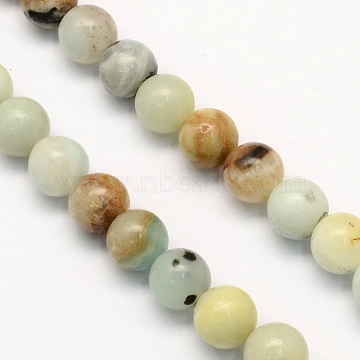 Natural Flower Amazonite Round Beads Strands, 6.5mm, Hole: 1mm, about 63pcs/strand, 15.5 inches(X-G-S161-6mm)