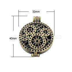 Romantiques idées de jour de valentines pour l'épouse avec votre photo style tibétain pendentifs diffuseur médaillon, Grade a, sans plomb et sans nickel, creux, plat rond, bronze antique, 44x33x9mm, Trou: 6x4mm, Plateau: 30 mm(X-TIBEP-A24733-AB-FF)