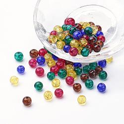 Perles de verre craquelé peintes, perles de verre lustre, rond, couleur mixte, 6~6.5x5.5~6mm, trou: 1 mm; environ 200 PCs / sachet (DGLA-X0006-6mm-05)