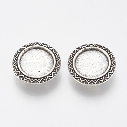 Tibetan Style Alloy Slide Charms Cabochon Settings, Lead Free, Flat Round, Antique Silver, Tray: 16mm; 23x7mm, Hole: 3x7mm(X-TIBE-Q086-045AS-LF)