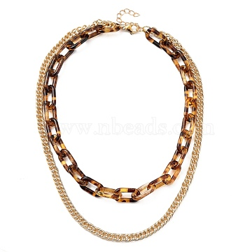 Transparent Acrylic & Aluminium Double Layer Necklaces, Chain Necklaces, Cable Chains & Curb Chains, Light Gold, 15.75 inches(40cm)(X-NJEW-JN02957)