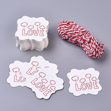 Paper Gift Tags, Hange Tags, For Arts and Crafts, with Cotton Cords, for Valentine's Day, Square with Word Love, White & Red, 45x45x0.5mm; 50pcs/set(CDIS-L004-A03)