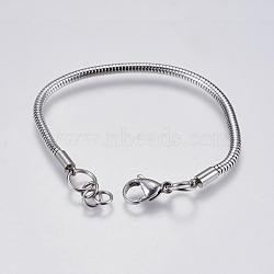 """Bricolage de bracelet chaîne serpent rond en 304 acier inoxydable, avec fermoir pince de homard, couleur inoxydable, 6-7/8"""" (17.5cm); 3mm, Trou: 4mm(STAS-I097-026-C)"""