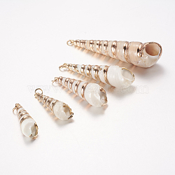 Pendentifs coquille spirale électrolytique, avec les accessoires en laiton, coquille de vis, or, 36~67x10~17mm, Trou: 3mm(SSHEL-J051-02)