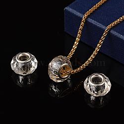 perles européennes en verre, avec double noyau plaqué argent, facettes, rondelle, effacer, 14x9.5~10 mm, trou: 0.5 mm(X-GPDL-D009-15)