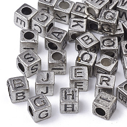 Antique Style Acrylic Beads, Horizontal Hole, Cube with Initial Letter, Antique Silver, 6x6x6mm, Hole: 3mm, about 300pcs/50g(X-PACR-Q118-01AS)