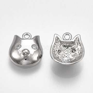 Real Platinum Plated Clear Pig Brass+Cubic Zirconia Charms