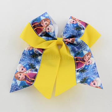 Girls' Kawaii Hair Accessories Bowknot Elastic Hair Ties, with Printed Grosgrain Ribbon, Yellow, 46mm(OHAR-R218-03)