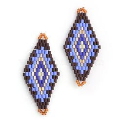 TOHO® & MIYUKI® perles de rocaille japonaises, Liens faits à la main, motif de losange métier à tisser, lilas, 42.5~44x19~20x1.5~2mm, Trou: 1~2mm(X-SEED-S009-SP2-24)