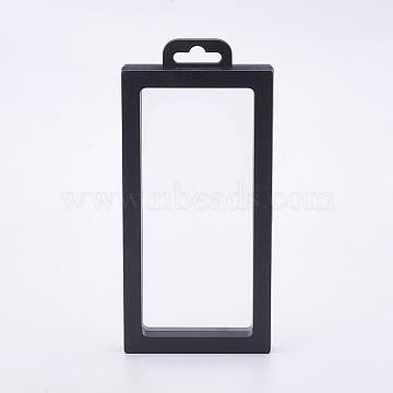 Plastic Frame Stands, with Transparent Membrane, For Ring, Pendant, Bracelet Jewelry Display, Rectangle, Black, 20x9.2x2cm(ODIS-P006-01B)